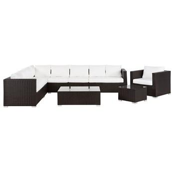 Zestaw ogrodowy brązowy technorattan beżowe poduszki meble modułowe narożnik fotel stoliki