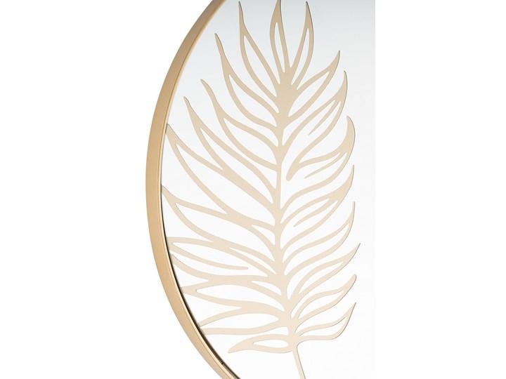 Okrągłe lustro ścienne złote rama 57 cm wzór liścia łazienka salon styl retro Styl Vintage Lustro z ramą Kolor Złoty