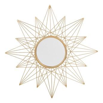 Lustro ścienne wiszące złote 91 cm promienie słońca gwiazda vintage glamour