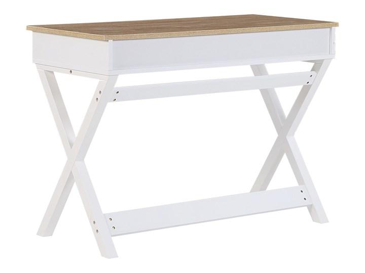 Biurko białe z jasnym blatem MDF 103 x 50 cm z szufladami małe skandynawski Drewno Płyta MDF Sosna Kolor Biały