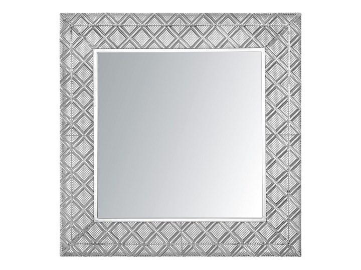 Lustro wiszące dekoracyjne kwadratowe srebrne 80 x 80 cm orientalna rama w romby Lustro z ramą Pomieszczenie Sypialnia Ścienne Pomieszczenie Garderoba