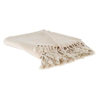 Koc beżowy bawełniany 130 x 160 cm jodełka z frędzlami narzuta styl boho