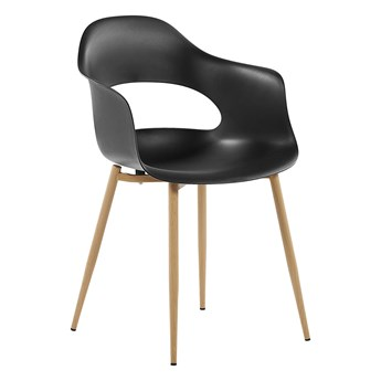 Zestaw 2 krzeseł czarnych plastikowych nóżki jasne drewno ozdobne do jadalni styl skandynawski