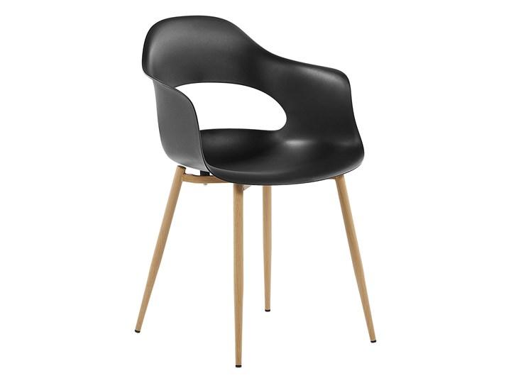 Zestaw 2 krzeseł czarnych plastikowych nóżki jasne drewno ozdobne do jadalni styl skandynawski Wysokość 81 cm Głębokość 47 cm Metal Styl Industrialny Tworzywo sztuczne Szerokość 54 cm Pomieszczenie Jadalnia