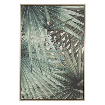 Obraz na płótnie zielony 93 x 63 cm liście palmy polyester rama MDF nowoczesny