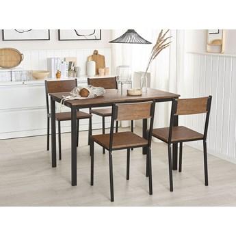 Zestaw do jadalni stół 110 x 70 cm i 4 krzesła ciemne drewno z czarnym stalowa rama styl industrialny