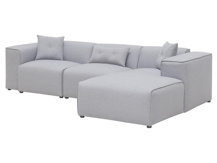 Narożnik lewostronny jasnoszary 3-osobowy 3 poduszki dekoracyjne styl nowoczesny Nóżki Bez nóżek Rozkładanie