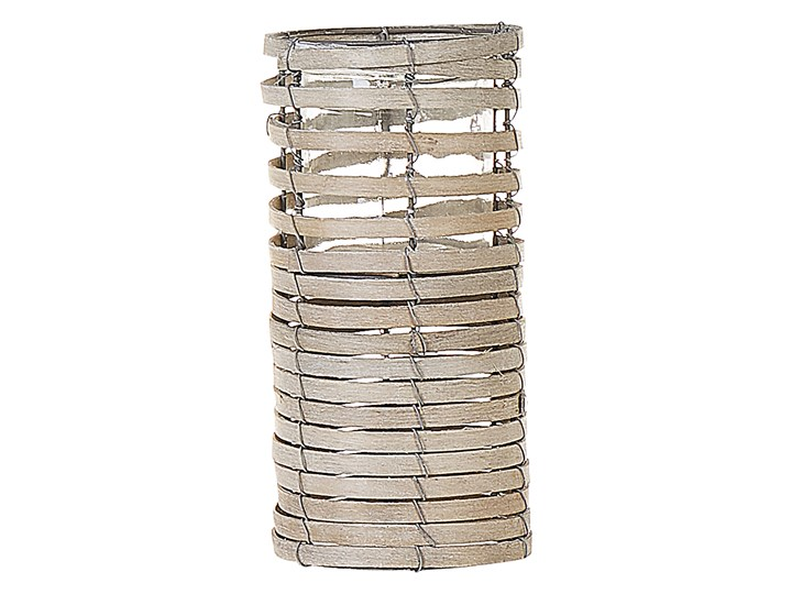 Zestaw 3 świeczników jasne drewno kwadratowe wysokie różne rozmiary boho design szklany pojemnik Żelazo Szkło Metal Kategoria Świeczniki i świece