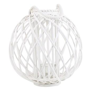 Lampion dekoracyjny biały drewniany 41 cm ozdobna latarnia na świecę