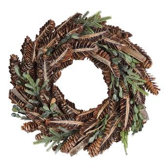 Wieniec świąteczny brązowy drewniany szyszki sztuczne gałązki sosnowe okrągły 35cm tradycyjny wygląd