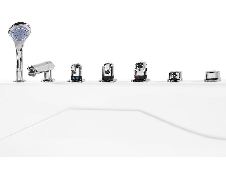 Wanna narożna z hydromasażem biała akrylowa z oświetleniem LED i zagłówkami prawostronna Wolnostojące Kolor Biały Stal Kategoria Wanny