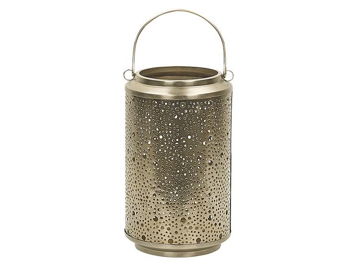 Lampion dekoracyjny złoty metalowy 25 cm ozdobna latarnia na świecę Żelazo Stal Kategoria Świeczniki i świece