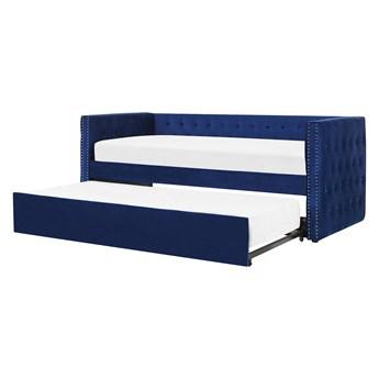 Łóżko wysuwane niebieskie welurowe ze stelażem 90 x 200 cm dziecięce glamour guziki gwoździe tapicerskie