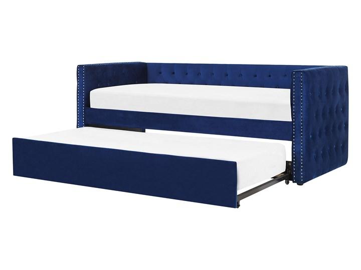 Łóżko wysuwane niebieskie welurowe ze stelażem 90 x 200 cm dziecięce glamour guziki gwoździe tapicer ...