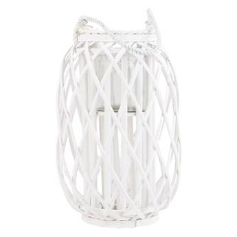 Lampion dekoracyjny biały drewniany 40 cm ozdobna latarnia na świecę