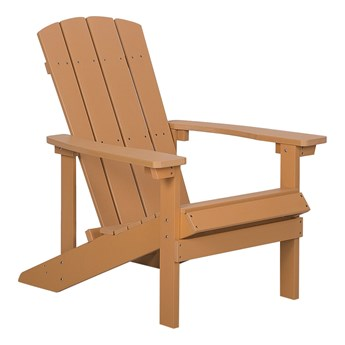 Krzesło ogrodowe jasne drewno leżak z podłokietnikami balkonowy imitacja drewna