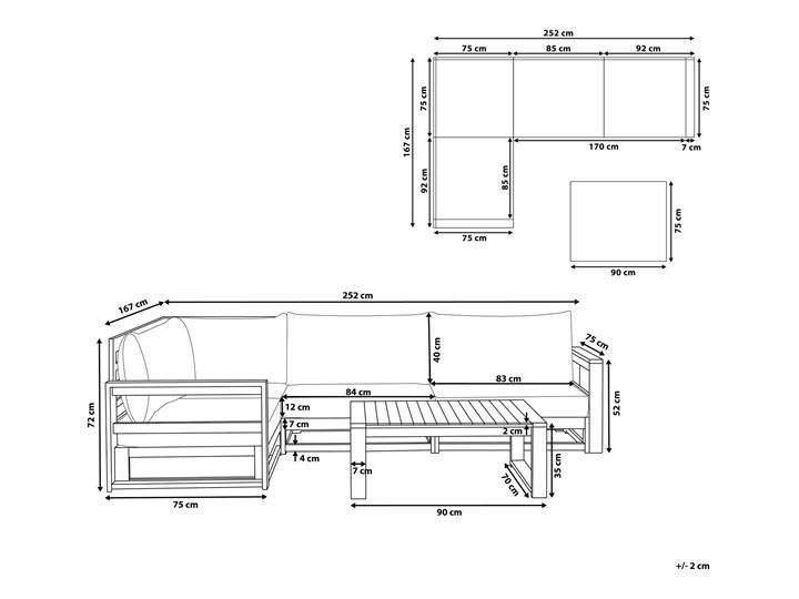 Zestaw mebli ogrodowych jasne drewno akacjowe narożnik szare poduszki stolik kawowy Zestawy modułowe Zestawy kawowe Zestawy wypoczynkowe Kategoria Zestawy mebli ogrodowych Styl Nowoczesny