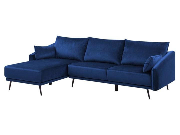 Narożnik prawostronny niebieski welurowy kolorowy LED 3-osobowy 2 poduszki dekoracyjne styl nowoczesny W kształcie L Kolor Wielokolorowy Nóżki Na nóżkach
