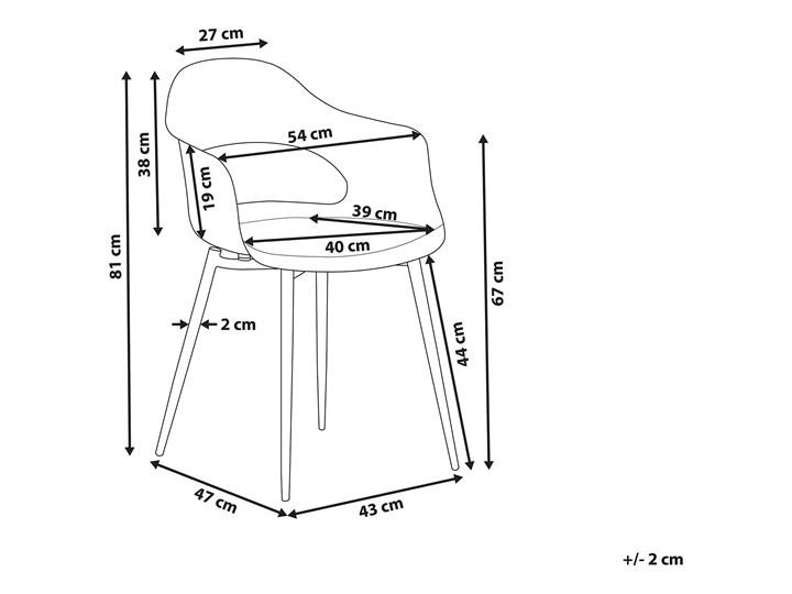 Zestaw 2 krzeseł szarych plastikowych nóżki jasne drewno ozdobne do jadalni styl skandynawski Styl Nowoczesny Głębokość 47 cm Wysokość 81 cm Tworzywo sztuczne Metal Szerokość 54 cm Pomieszczenie Jadalnia