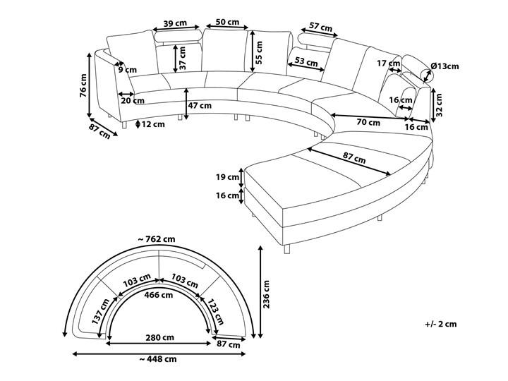 Sofa półokrągła kremowa skórzana 8 miejsc moon salon duży pokój nowoczesna Szerokość 448 cm Stała konstrukcja Styl Industrialny