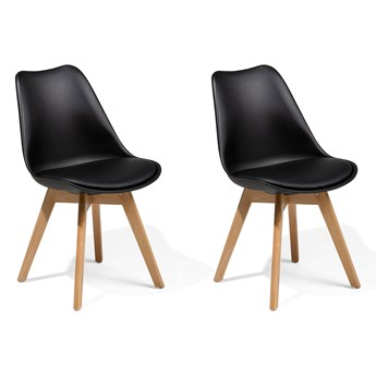 Zestaw 2 krzeseł czarnych plastikowych nóżki jasne drewno siedzisko z ekoskóry do jadalni styl skandynawski przejściowy