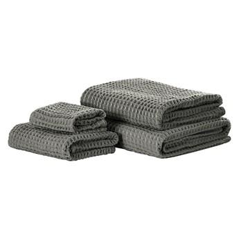 Komplet 4 ręczników szary bawełna low twist ręczniki dla gości do rąk kąpielowy i plażowy
