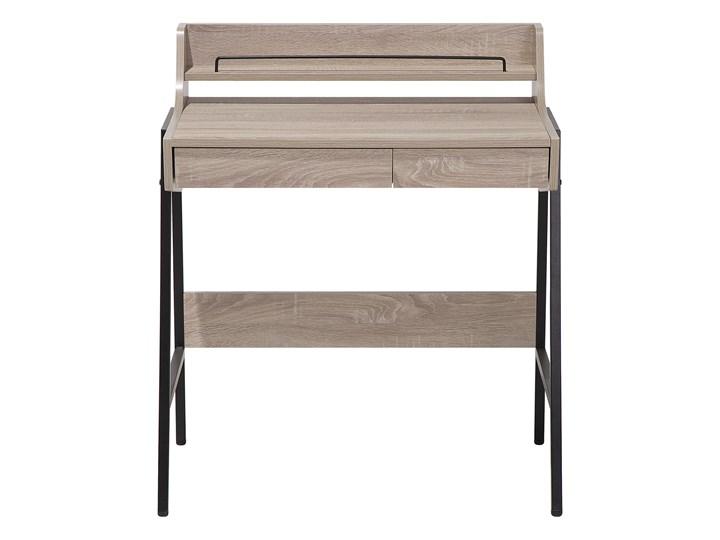 Małe biurko jasnobrązowe 73 x 48 cm z nadstawką i szufladami na stalowej ramie Szerokość 72 cm Szerokość 77 cm Pomieszczenie Biuro Drewno Płyta MDF Biurko z nadstawką Biurko komputerowe Kolor Brązowy