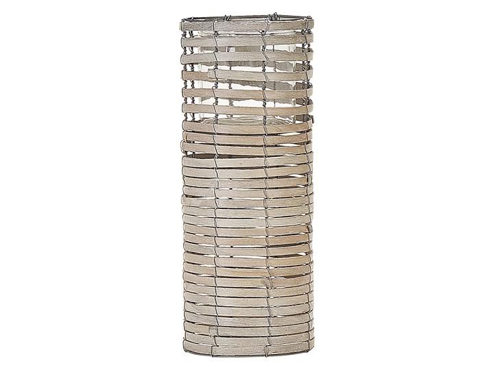 Zestaw 3 świeczników jasne drewno kwadratowe wysokie różne rozmiary boho design szklany pojemnik Szkło Kategoria Świeczniki i świece Metal Żelazo Kolor Beżowy