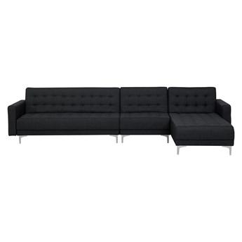 Narożnik rozkładany grafitowy modułowy 5-osobowy nowoczesna sofa do salonu z szezlongiem lewostronna
