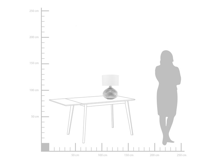 Lampa stołowa srebrna biała 55 cm szklana podstawa wysoki połysk glamour Styl Nowoczesny Lampa nocna Kategoria Lampy stołowe