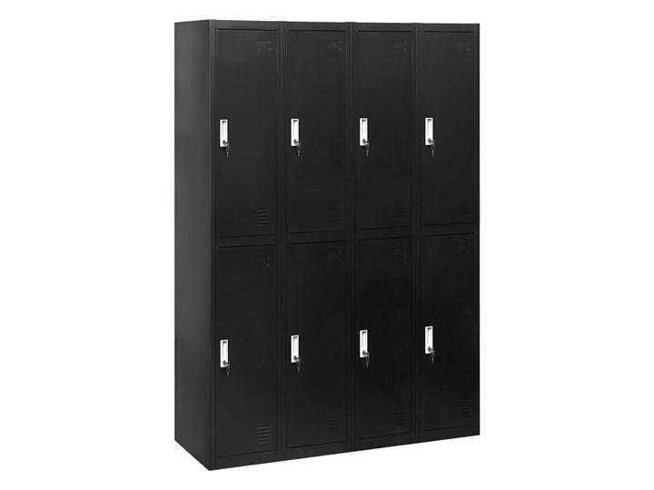 Szafa ubraniowa czarna metalowa 120 x 45 x 180 cm 4 x podwójne drzwi na kluczyk z półkami