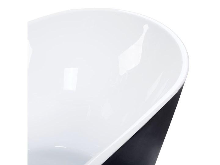 Wanna wolnostojąca czarna akrylowa 170 x 77 cm system przelewowy owalna retro Wolnostojące Kolor Czarny