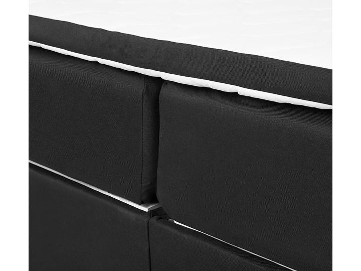 Łóżko kontynentalne z pojemnikiem i materacem czarne tapicerowane materiałem 160 x 200 cm retro design Kolor Czarny Łóżko tapicerowane Kategoria Łóżka do sypialni