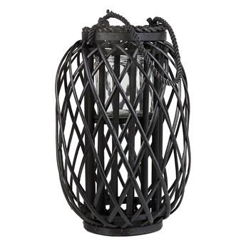 Lampion dekoracyjny czarny drewniany 40 cm ozdoba latarenka na świeczkę MAURITIUS