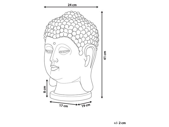 Figura dekoracyjna biała stojąca głowa Buddy 41 cm Kolor Biały Ludzie Tworzywo sztuczne Rośliny Kategoria Figury i rzeźby