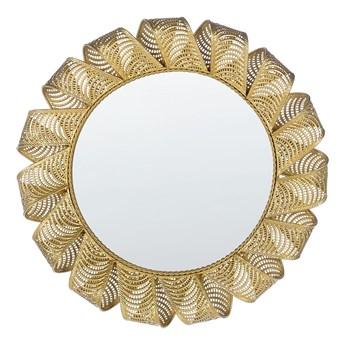 Lustro ścienne złote metalowa rama ażurowa okrągłe 60 cm wiszące styl glamour