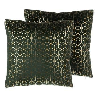 Poduszka dekoracyjna ciemnozielona welurowa wzór geometryczny sześciany 45 x 45 cm z wypełnieniem ozdobna akcesoria salon sypialnia