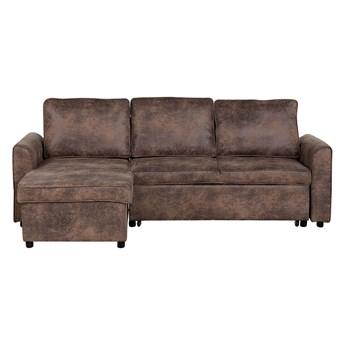 Narożnik rozkładany brązowy tapicerowany trzyosobowy nowoczesna narożna sofa do salonu z pojemnikiem prawostronna