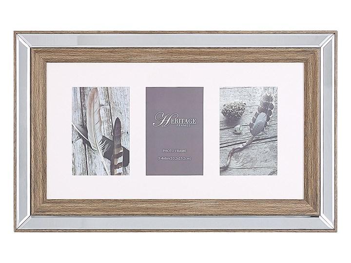 Multiramka ciemne drewno drewniana lustrzana 32 x 50 cm na zdjęcia 3 fotografie 10 x 15 cm kolaż wisząca Kategoria Ramy i ramki na zdjęcia Pomieszczenie Sypialnia
