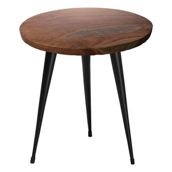 Stolik ciemne drewno tekowe na trzech czarnych metalowych nogach okrągły 45 cm nowoczesny design