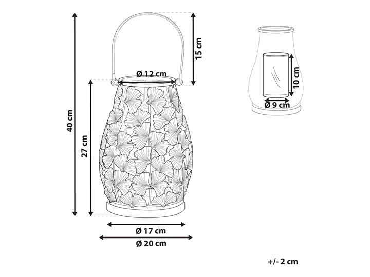 Lampion w liście miłorzębu złoty metalowy 25 cm ze szklanym wkładem na świeczkę Świecznik Szkło Kategoria Świeczniki i świece
