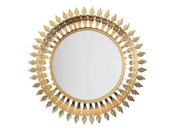 Lustro ścienne wiszące złote 60 cm salon sypialnia Lustro z ramą Okrągłe Kolor Złoty