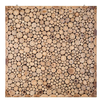 Dekoracja ścienna jasne drewno tekowe 82 x 82 cm mozaika