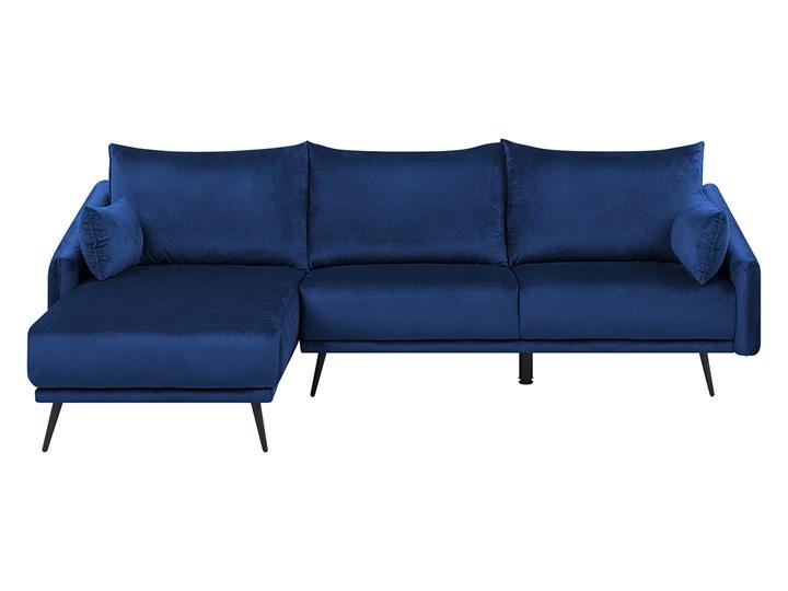 Narożnik prawostronny niebieski welurowy kolorowy LED 3-osobowy 2 poduszki dekoracyjne styl nowoczesny W kształcie L Materiał obicia Tkanina