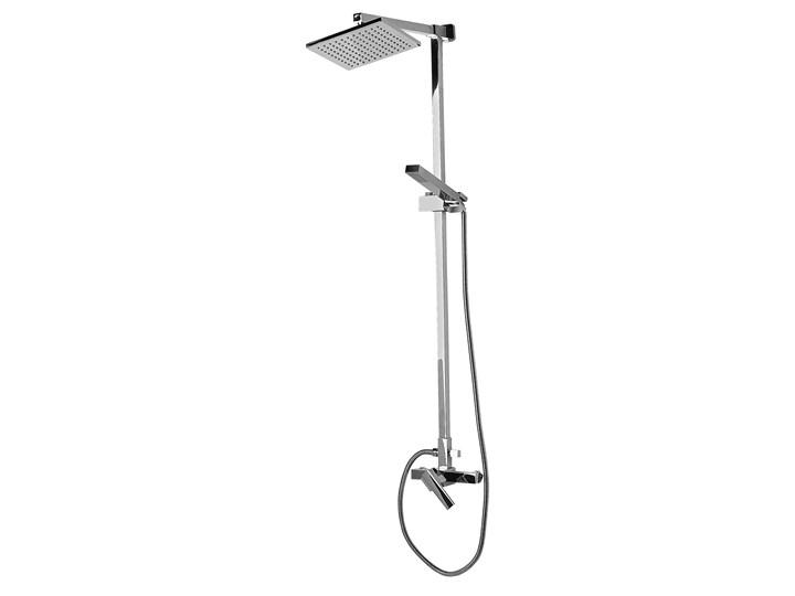 Kolumna prysznicowa srebrna mosiężna bateria z deszczownicą i słuchawką nowoczesna Wyposażenie Z baterią Kolor Srebrny