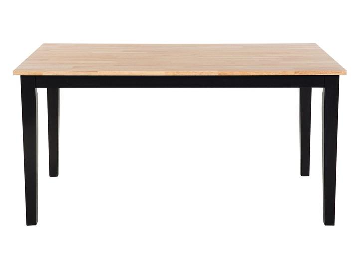 Stół do jadalni jasne drewno z czarnym 150 x 90 cm prostokątny styl skandynawski Długość 150 cm  Rozkładanie Styl Nowoczesny