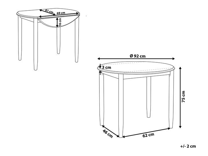 Stół do jadalni szary jasne drewno 60/92 x 92 cm rozkładany okrągły 4 miejsca skandynawski Szerokość 60 cm Pomieszczenie Stoły do jadalni