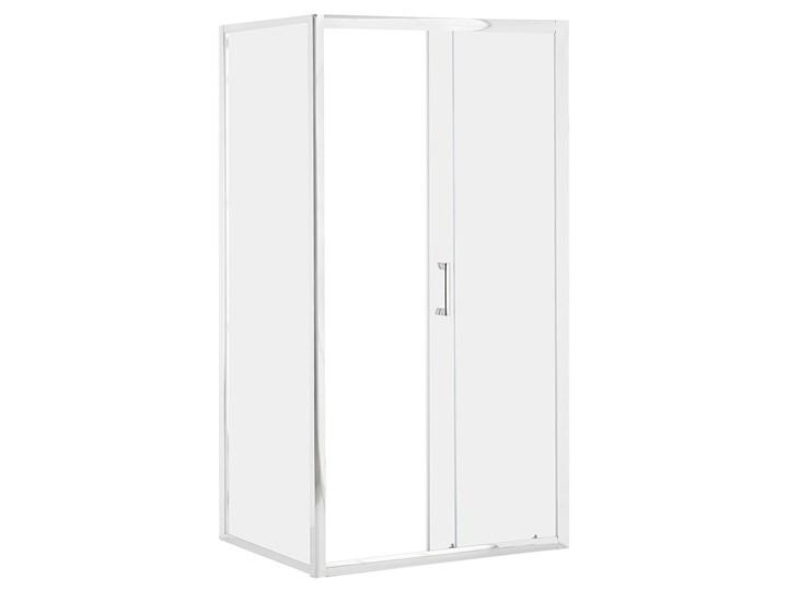 Kabina prysznicowa srebrna szkło hartowane aluminum pojedyncze drzwi 80x100x185cm nowoczesny design Kategoria Kabiny prysznicowe