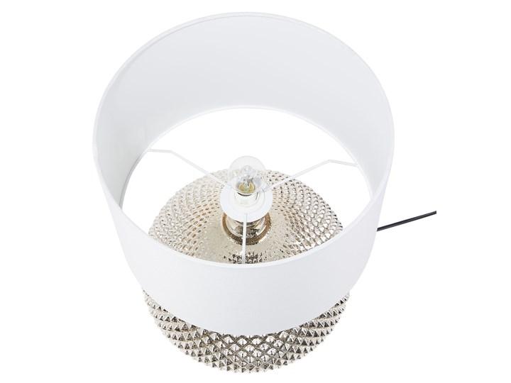 Lampa stołowa złota biała 55 cm szklana podstawa wysoki połysk glamour Styl Nowoczesny Lampa nocna Lampa z abażurem Kolor Biały