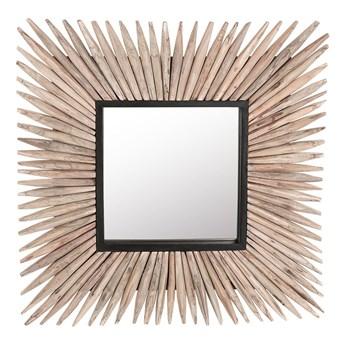 Dekoracyjne lustro ścienne jasne drewno kwadratowe 64 x 64 cm styl rustykalny